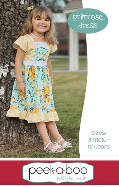 The Primrose Dress Sewing Pattern is here! Buy it today and save at checkout :) My girly is so excited to have a new dress for Easter! The Primrose includes sizes years. Tunic Sewing Patterns, Clothing Patterns, Kids Clothing, Toddler Skirt, Girls Dresses, Flower Girl Dresses, Sewing Clothes, Baby Dress, Kids Outfits