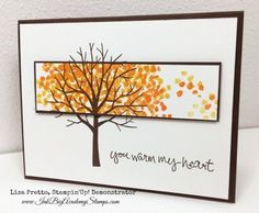 """""""Sheltering Tree"""" GREAT stamp set from Stampin' Up. Go to splitcoast to see … """"Sheltering Tree"""" GREAT stamp set from Stampin' Up. Go to splitcoast to see many variations Fall Cards, Holiday Cards, Karten Diy, Leaf Cards, Stamping Up Cards, Thanksgiving Cards, Sympathy Cards, Halloween Cards, Paper Cards"""