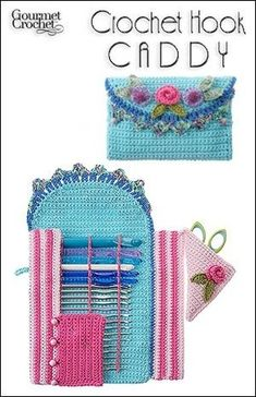 Crochet a creative fold-out crochet hook holder that holds an entire hook collection from small steel hooks to size Q. Original crochet patterns designed by Carolyn Christmas available at Gourmet Crochet. Crochet Diy, Crochet Motifs, Love Crochet, Crochet Gifts, Crochet Stitches, Ravelry Crochet, Crochet Hook Case, Crochet Hooks, Crochet Organizer