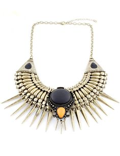 Retro Gold Spike Chain Necklace - Sheinside.com, great gift too