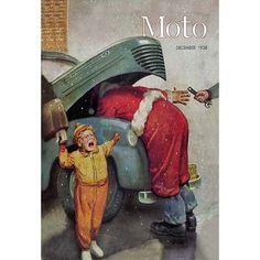 Buyenlarge Boy Upset to See Santa Mechanic Under Car Hood Vintage Advertisement Size: