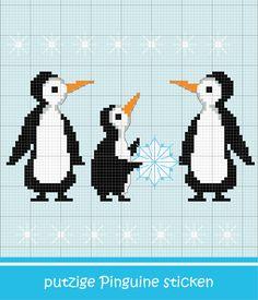 Putzige Pinguin-Familie sticken #Sticken #Kreuzstich / #Winter / #Pinguin ; #Embroidery #Crossstitch / #penguin / #ZWEIGART