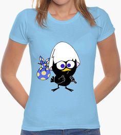 T-shirt Donna, manica corta, azzurra cielo, qualità premium