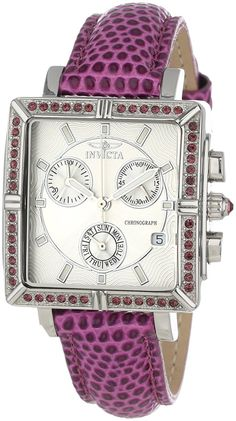 Invicta 10335 Women's Wildflower Classique Quartz Crystal Accented Purple Watch w/ 7-Piece Leather Strap Set >>> Don't get left behind, see this great  product (This is an amazon affiliate link. I may earn commission from it)