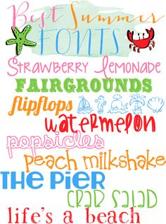 Best Summer Fonts - Aprons, Trainers, and Bibs Cute Fonts, Fancy Fonts, Summer Font, Silhouette Fonts, Silhouette Cameo, Computer Font, Cricut Fonts, Different Fonts, Web Design