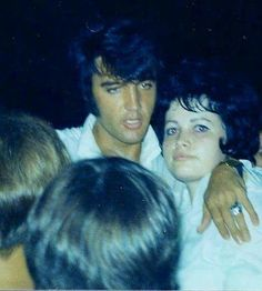 """This is Elvis and me standing on a stump at the gate in 1969."" ~ Shirley Connell 