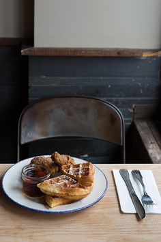 Chicken and waffles. Must try someday.