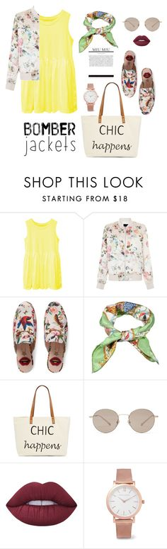 """""""Sweet bomber"""" by ayukatz ❤ liked on Polyvore featuring New Look, Gucci, Straw Studios, Lime Crime, Larsson & Jennings, bomberjackets and oontood"""
