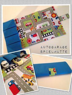 Selbst genäht - Spielmatte, Auto Garage to go - praktisch für unterwegs - orientiert habe ich mich an dieser kostenlosen Anleitung:http://edeltraudmitpunkten.blogspot.de/2012/11/auto-fans-unterwegs.html?m=1