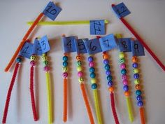 String beads on pipe cleaners for counting and also could do fact families. *might make a busy bag with this.