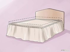 How to Make a Bed Skirt. A bed skirt, also called a dust ruffle, is a traditional bed dressing that covers the box spring and extends nearly to the floor. Bed skirts come in a variety of styles and can be bought or made. How To Dress A Bed, How To Make Bed, Baby Sheets, Sewing Blouses, Dust Ruffle, Mattress Covers, Diy Bed, Bed Spreads, Sewing Hacks