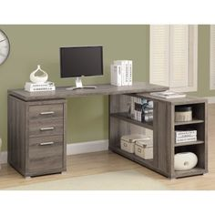 Coaster Yvette Weathered Grey Executive Desk - A good value for the money.This Coaster Home Furnishings tha L Shaped Office Desk, L Shaped Executive Desk, L Shaped Desk, Home Office Desks, Home Office Furniture, Office Decor, Office Ideas, Furniture Decor, Bedroom Furniture