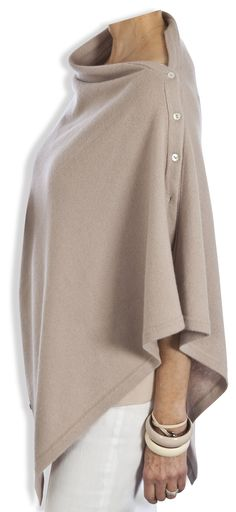 18df68c6a Buttoned Cashmere Poncho - Vintage Rose by Catherine Robinson  www.catherinerobinsoncashmere.com