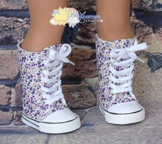 """Purple with Some Pink Little Flowers Lace-Up Knee High Top Sneakers Boots Doll Shoes for 18"""" American Girl dolls"""