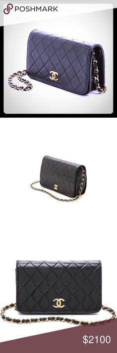 Vintage Chanel purse. Unique code number inside. Classic black leather Chanel mini flap purse with long shiny  hard gold chain. Not manufactured anymore. Retails from $3450-4000 online. Perfect Condition. Purse is sturdy and fits essentials plus more. Twist gold nob to open flap. Perfect for any occasion usage, day or night. Has serial code inside visible. Unfortunately threw away card when purchased. CHANEL Bags Shoulder Bags