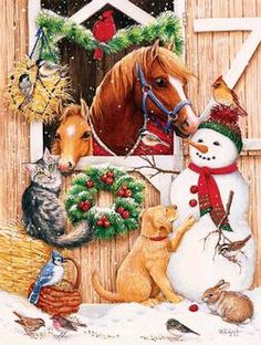 A Stable Visitors decorative Christmas flag showing two horses in the barn looking out the door. Outside the barn is a snowman with birds on him, a pup, cat Christmas Scenes, Noel Christmas, Vintage Christmas Cards, Christmas Images, Country Christmas, Winter Christmas, Christmas 2017, Christmas Garden, Merry Christmas Friends