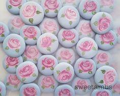 Vintage blue with pink rose