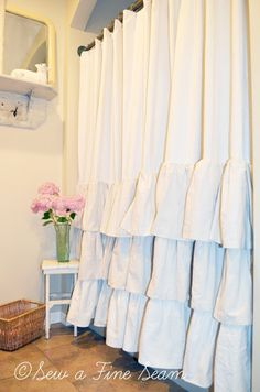 FRENCH COUNTRY COTTAGE: Love the look of this shower curtain & simple stool with vase of flowers. Really pretty.