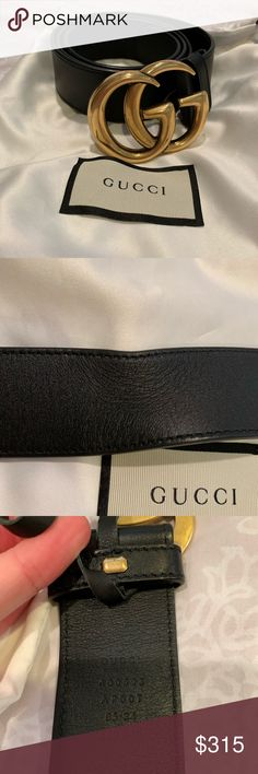 7259626f6287 Gucci Belt Size 80 Authentic Gucci belt, bought at Gucci in Paris, size 80,  minor pull in leather in back of belt from wear. Comes with dust bag and  box.