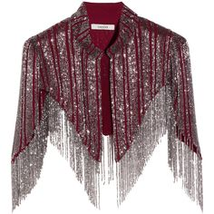 GANNI - Fringed Beaded Georgette Cape (730 DKK) ❤ liked on Polyvore featuring outerwear, claret, ganni, purple cape, cape coat, beaded cape and fringed cape