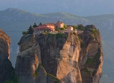 The Holy trinity monastery in Meteora, Greece. Overlooks the town of Kalambaka.