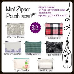 Mini Zipper Pouch, Thirty-One, Fall 2017 www.mythirtyone.com/carrieblackman