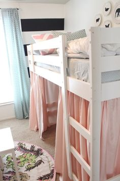 ikea bunk bed turned into loft bed and painted - easy makeover creates awesome toddler bunk/loft (not too high)! Dad this is the boys bed! And build another Ikea Bunk Bed, Bunk Beds, Mydal Ikea, Boy Room, Kids Room, Child's Room, Girls Bedroom, Bedroom Decor, Bedroom Ideas