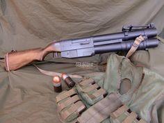 Pump action grenade launcher