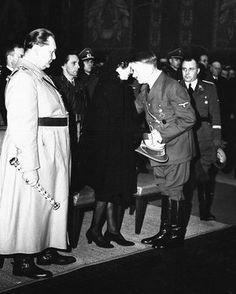 February 12, 1942 in Berlin: Fritz Todt's funeral. Hitler comforts Todt's widow as Speer, Goering, Goebbels and Bormann stand nearby. Baldur is also behind them.