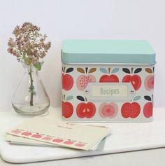 I've just found Vintage Apple Tin Recipe Box. Gorgeous, vintage inspired tin recipe holder. £12.50