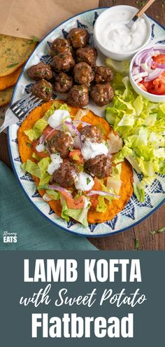 Lamb Kofta with Sweet Potato Flatbread - delicious Lamb Kofta's flavoured with a blend of middle eastern spices all served on sweet potato flatbreads with salad and homemade tzatziki - yum!! #glutenfree #kofta #Lamb #slimmingworld #weightwatchers #sweetpotato