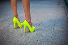 absolutely lovely neon yellow high heels