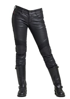 Size XL Bikers Gear Australia New Ladies Soft Leather Rock and Roll Motorcycle Comfort Leather Jeans Trousers made from Premium Leather for Comfort Fit Black