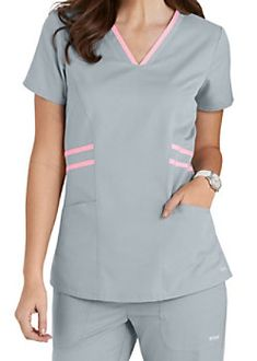 Grey's Anatomy Marquis Contrast Trim V-neck Scrub Tops Vet Scrubs, Doctor Scrubs, Medical Scrubs, Nursing Scrubs, Scrubs Outfit, Scrubs Uniform, Landau Scrubs, Stylish Scrubs, Iranian Women Fashion