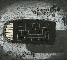 Akiko Taniguchi. Moment, 2001. Etching, mezzotint, collagraph, chine-colle. State II. Edition of 20. 7-7/8 x 8-7/8 inches.