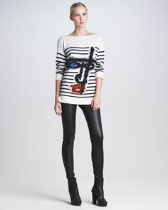 Jean Paul Gaultier Striped Sweater & Leather Leggings - Neiman Marcus