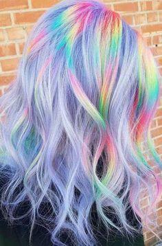 Vibrant Hair Colors, Hair Dye Colors, Ombre Hair Color, Cool Hair Color, Colorful Hair, Unicorn Hair Color, Bright Hair, Colours, Pastel Colors