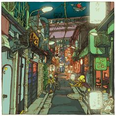 Tokyo 100 Views is a project designed by the Japanese illustrator Shinji Tsuchimochi, who invites us to discover the modern Tokyo through 100 beautiful illustr Japanese Illustration, Illustration Art, Environmental Art, Art Background, Art Plastique, Illustrations, Urban Art, Japanese Art, Cyberpunk