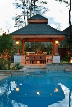 Amazing Outdoor Design Ideas with a Gazebo And Cabana Small Backyard Design, Outdoor Kitchen Design, Small Patio, Patio Design, Backyard Designs, Balcony Design, Pergola Designs, Pool Designs, Pergola Kits