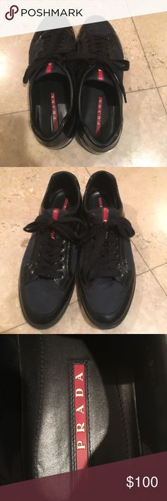 Men's Prada shoes Prada Linea Rossa men's low-top sneaker in nylon with patent leather details. Round, reinforced toe. Lace-up front. Logo tag at tongue. Padded collar. Reinforced heel counter. Leather lining and insole. Rubber outsole. Black . Size 11 Prada Shoes