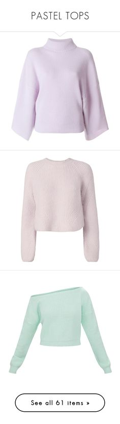 """PASTEL TOPS"" by egchee ❤ liked on Polyvore featuring tops, sweaters, purple cashmere sweater, lilac sweater, purple top, jumpers sweaters, cashmere sweater, shirts, pink sweater and pullover shirt"