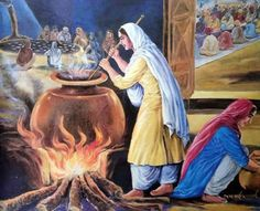 Mata Khivi (1506-1582)  The First to Serve Langar     Mata Khivi followed Guru Nanak and prepared food for all who came to hear the Guru's spiritual discourse. When her husband became the second Sikh guru, Guru Angad, she presided over langar, a free and open kitchen, serving food to rich and poor of all castes and backgrounds. Today, every Sikh gurdwara in the world serves langar to the community.