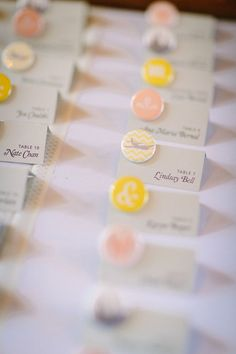 cards with custom buttons - Wedding Escort Cards