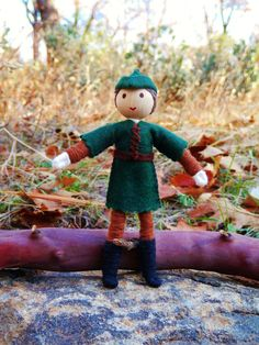 Natural Waldorf Inspired Robin Hood Doll- miniature bendy doll