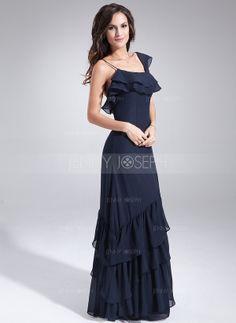 Bodenlang Chiffon Kleid für die Brautmutter mit Rüschen