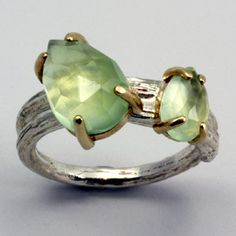 Just beautiful  Artist: Sarah Hood  Double prehnite wrapped ring in sterling silver and 14k yellow gold. Band is 5mm wide on top.