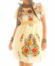 embroidered hippie dress mexican