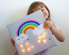 **We present RAINBOW LED wall art and unique kids night light! ** Rainbow lighting will make you smile all day ;-) You can use it as a nursery decor during the day and a lamp during the night. Rainbow wall art print is made on mat polyester canvas and pow Rainbow Bedroom, Rainbow Nursery, Rainbow Wall, Summer Crafts For Kids, Kids Crafts, Art For Kids, Diy And Crafts, Painting With Kids Ideas, Painting Crafts For Kids