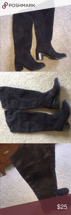 Black Over the Knee / Thigh High Boots Black boots with chunky heels. Suede material. Good condition. ASOS Shoes Over the Knee Boots