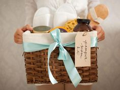 DIY Network shows you how to put together a simple and sweet spa gift basket for someone who deserves a little pampering.